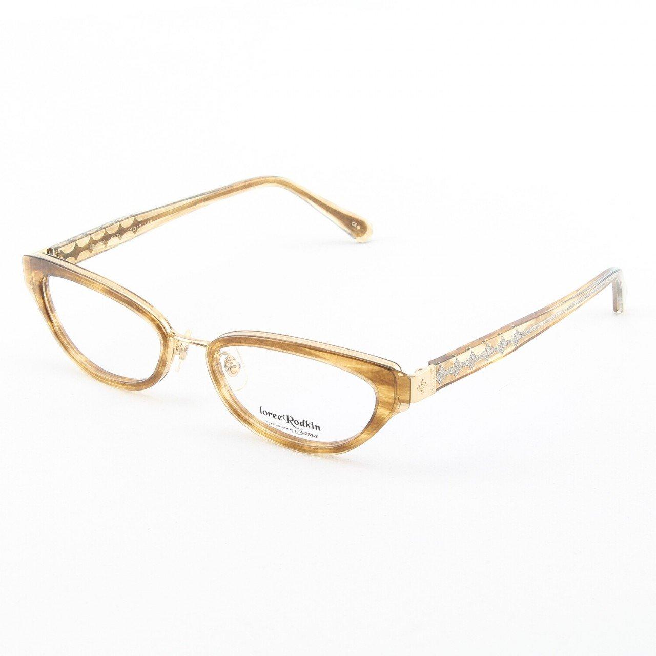 Loree Rodkin Katy Eyeglasses Topaz w/ Clear Lenses, Plastic Inserts and Decorative Temple Core