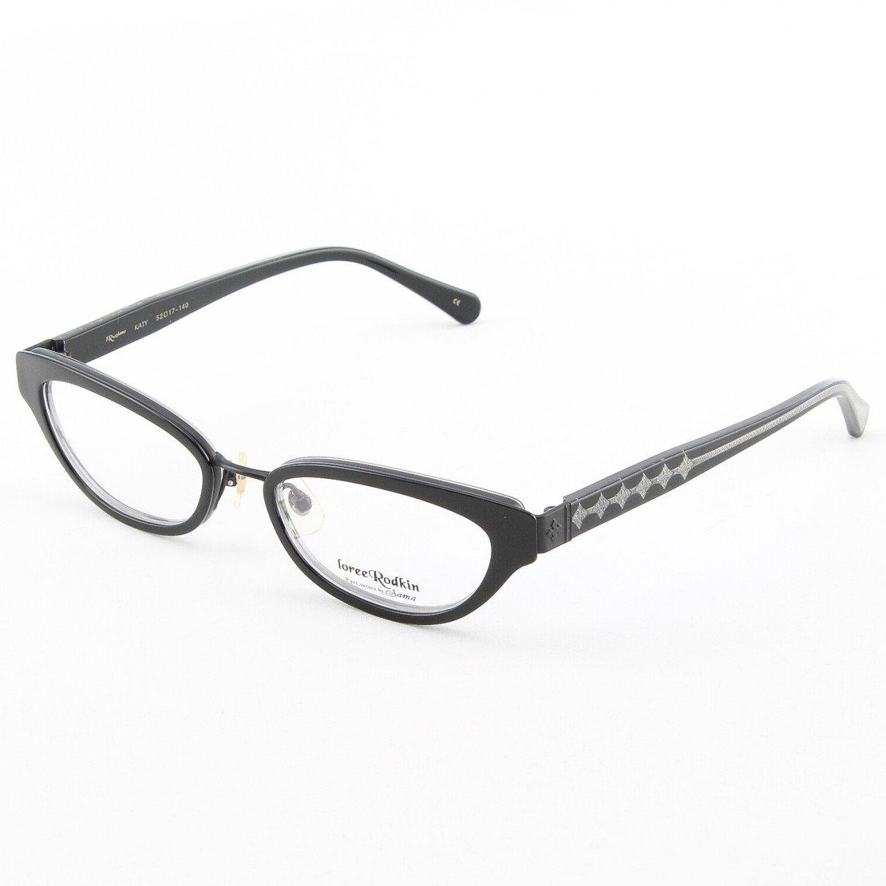 Loree Rodkin Katy Eyeglasses Onyx w/ Clear Lenses, Plastic Inserts and Decorative Temple Core