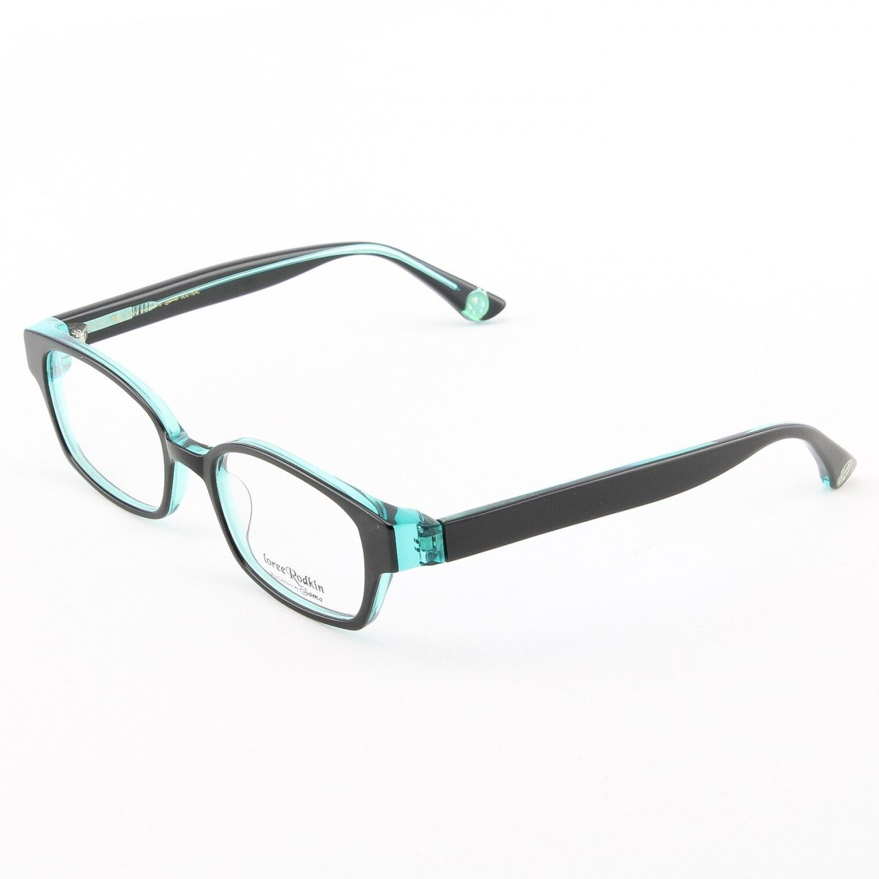 Loree Rodkin Evan Eyeglasses by Sama Col. Black and Teal with Clear Lenses