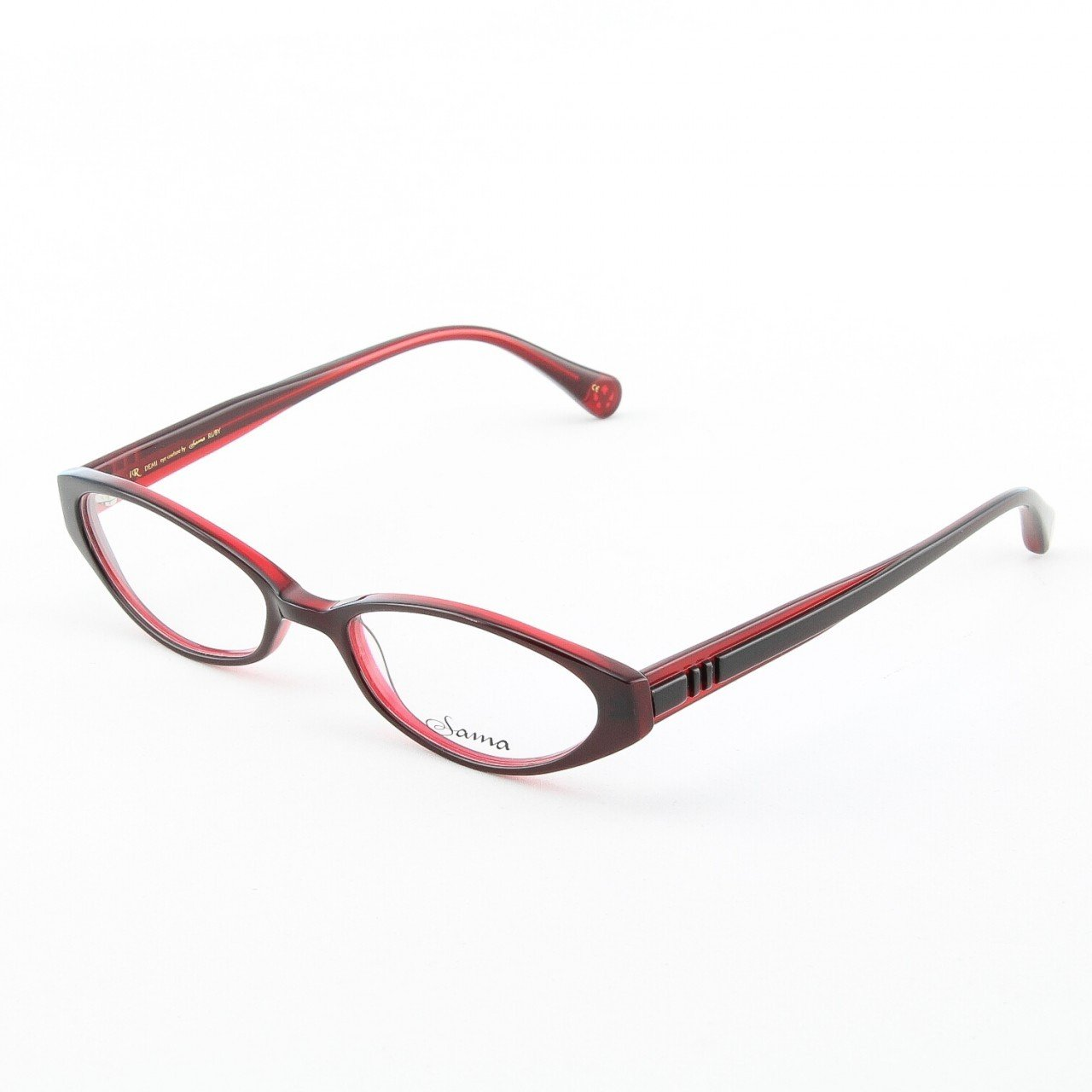 Loree Rodkin Demi Eyeglasses by Sama Col. Ruby with Clear Lenses