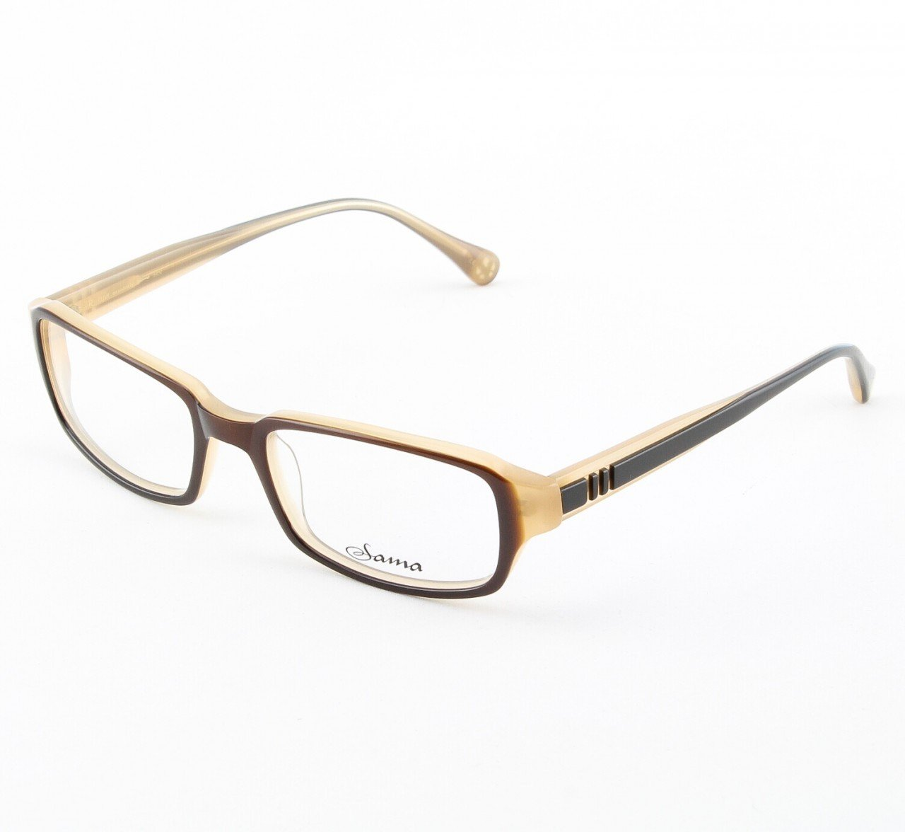 Loree Rodkin Clive Eyeglasses by Sama Col. Brown and Cream with Clear Lenses