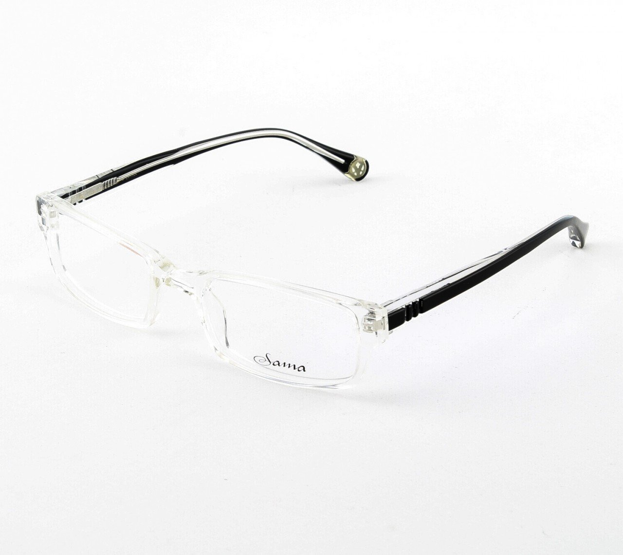 Loree Rodkin Chace Eyeglasses by Sama Col. Clear Crystal/Black with Clear Lenses