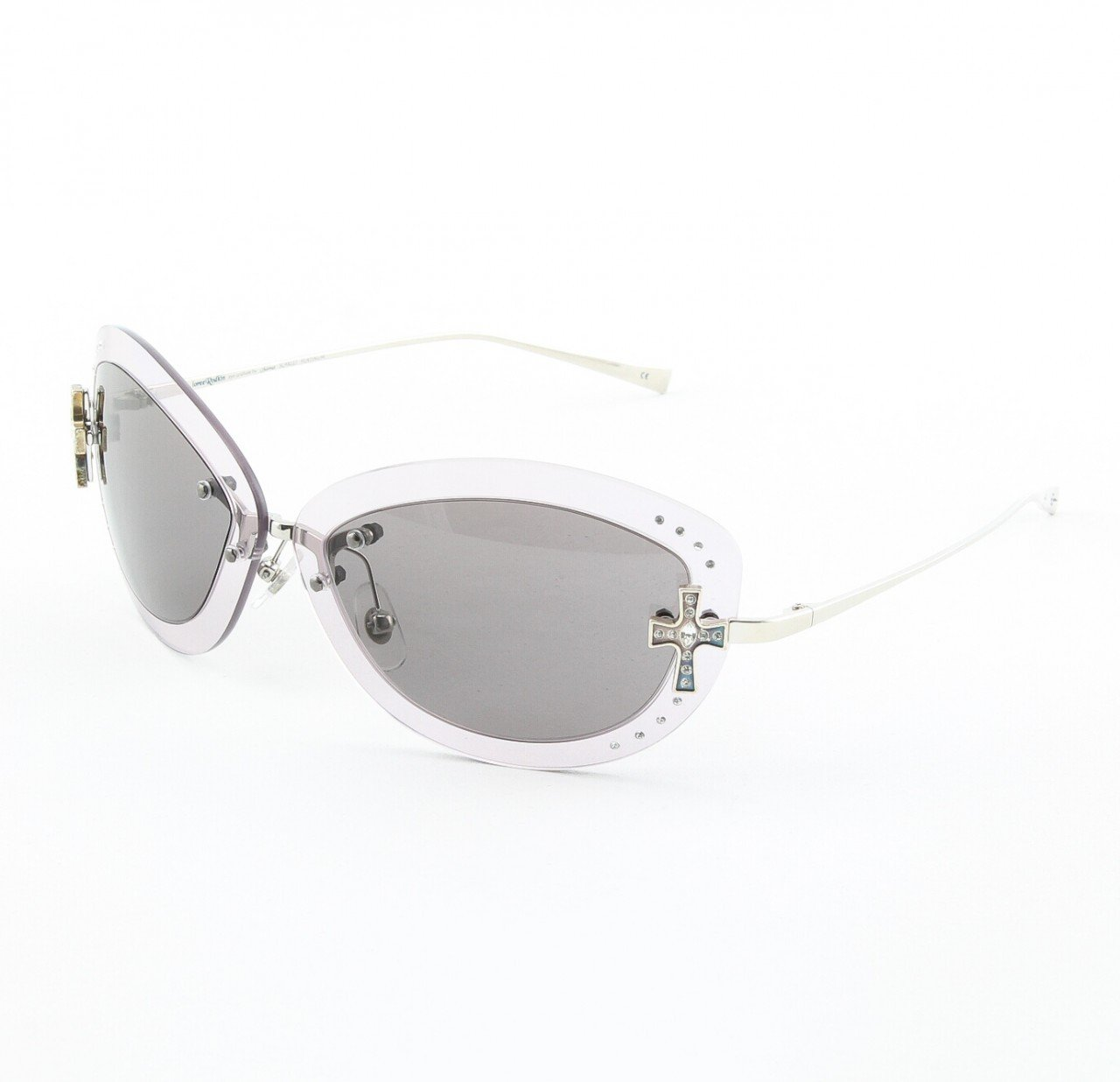 Loree Rodkin Scarlet Sunglasses by Sama Col. Lavender with Gray Lenses and Swarovski Crystals