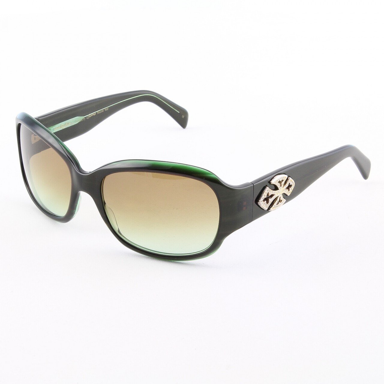Loree Rodkin Nicole Sunglasses Teal w/ Brown Gradient Lenses, Sterling Silver, Swarovski Crystals