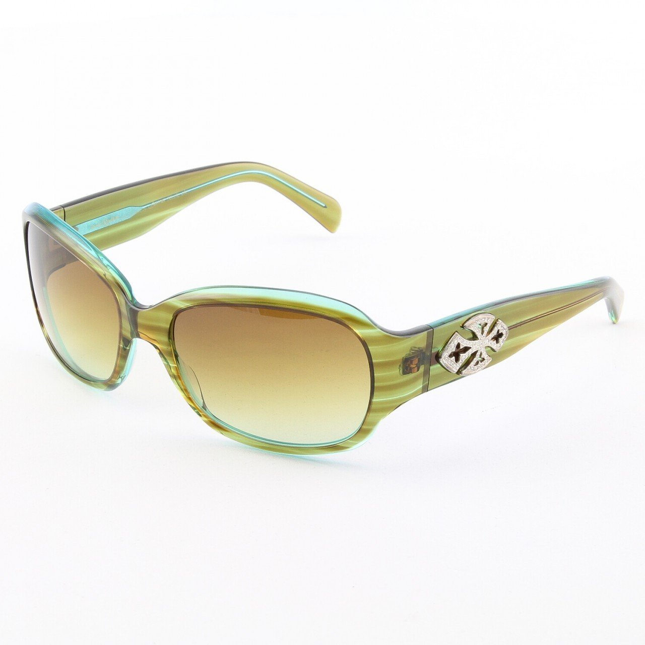 Loree Rodkin Nicole Sunglasses  Olive w/ Brown Gradient Lenses, Sterling Silver & Crystals