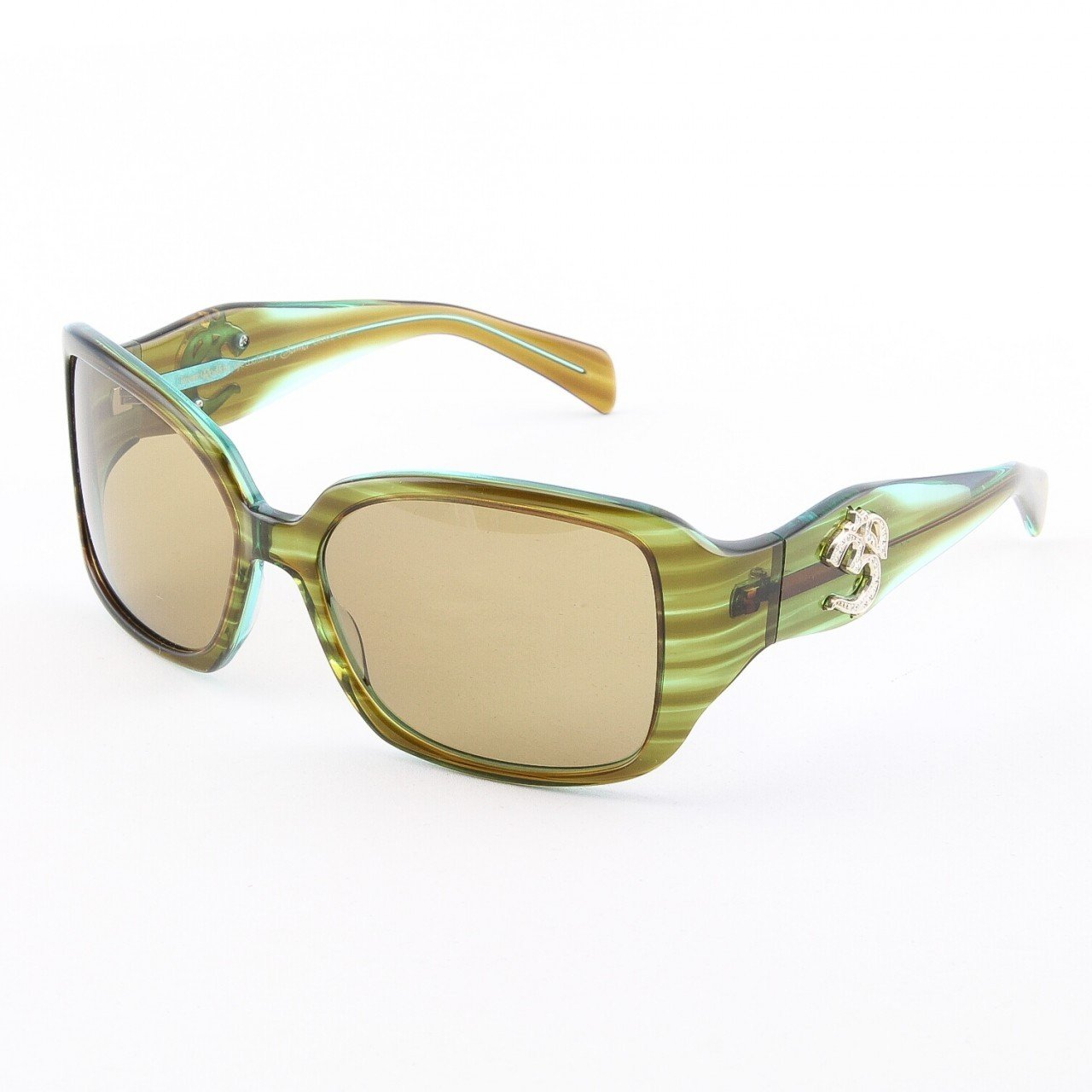 Loree Rodkin Electra Sunglasses Olive w/ Brown Lenses, Sterling Silver and Swarovski Crystals