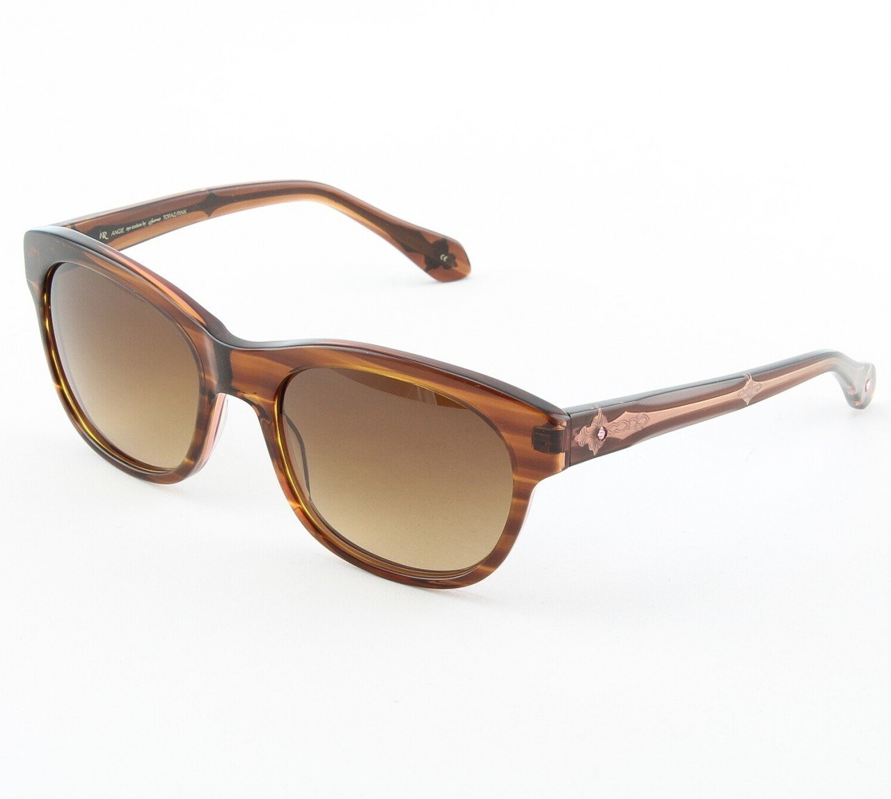 Loree Rodkin Angie Sunglasses Topaz/Pink w/ Brown Gradient Lenses & Swarovski Crystals