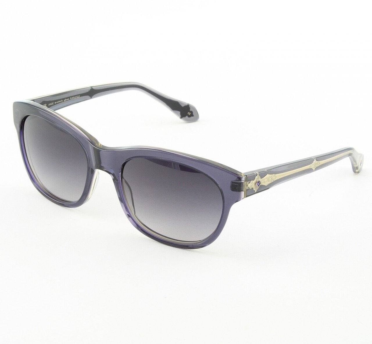 Loree Rodkin Angie Sunglasses by Sama Col. Purple with Gray Lenses and Swarovski Crystals