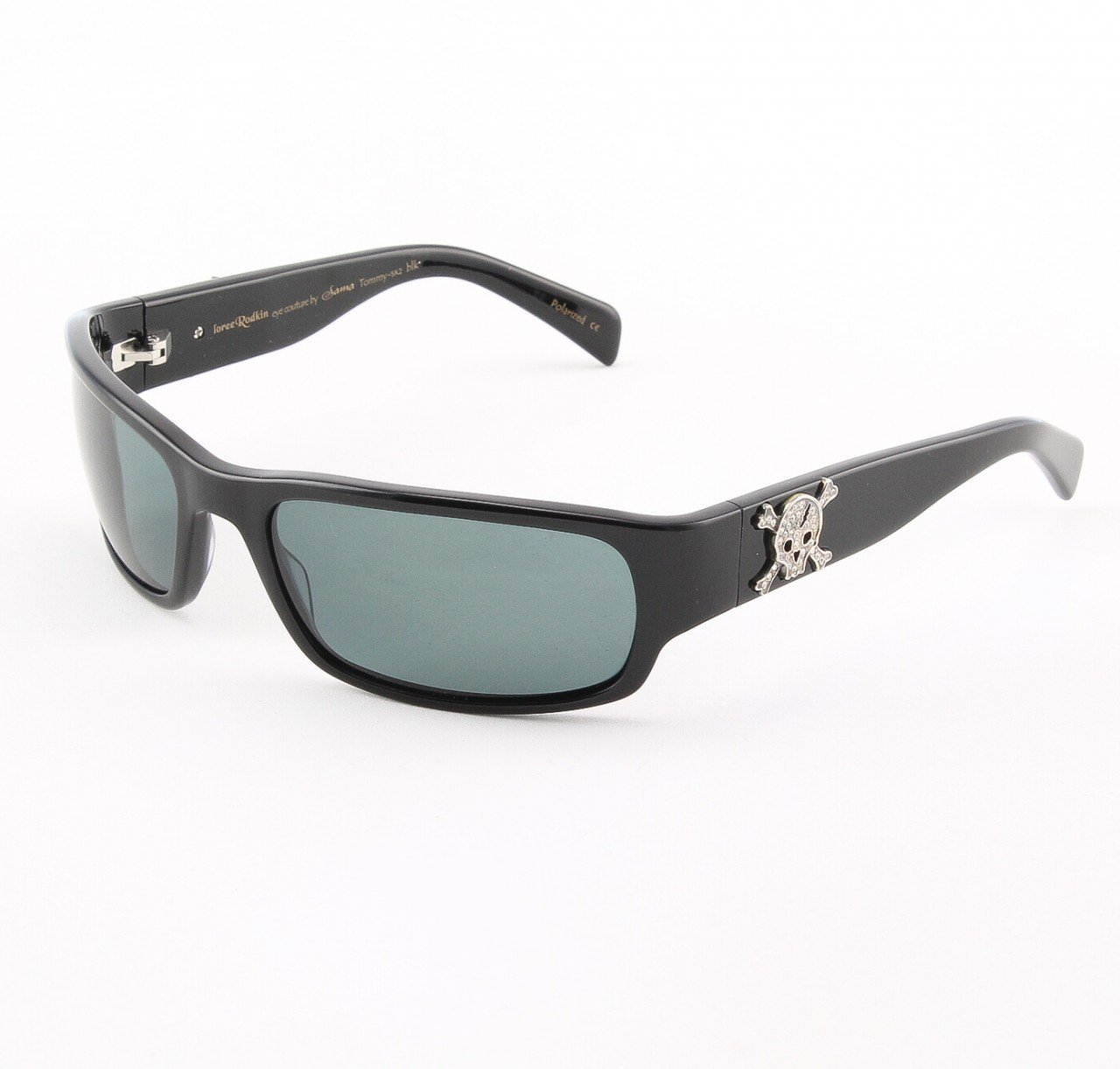 Loree Rodkin Tommy-SX2 Sunglasses Black w/ Polarized Lenses, Sterling Silver, Swarovski Crystals