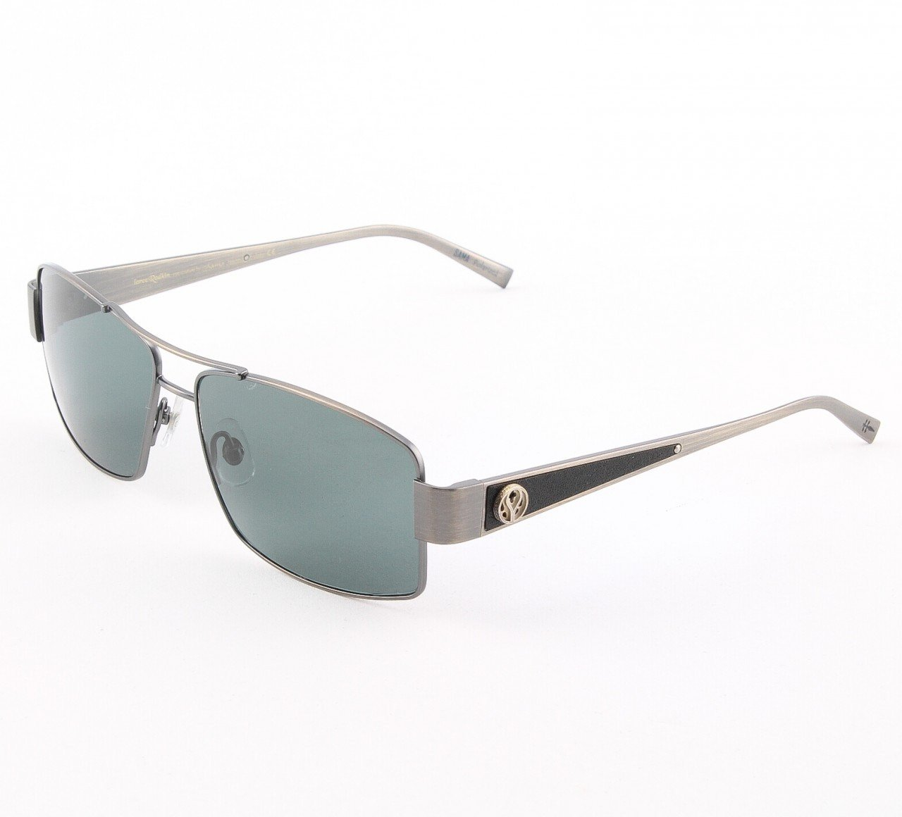 Loree Rodkin Jason Sunglasses by Sama Col. Slate with Gray Lenses, Leather and Sterling Silver