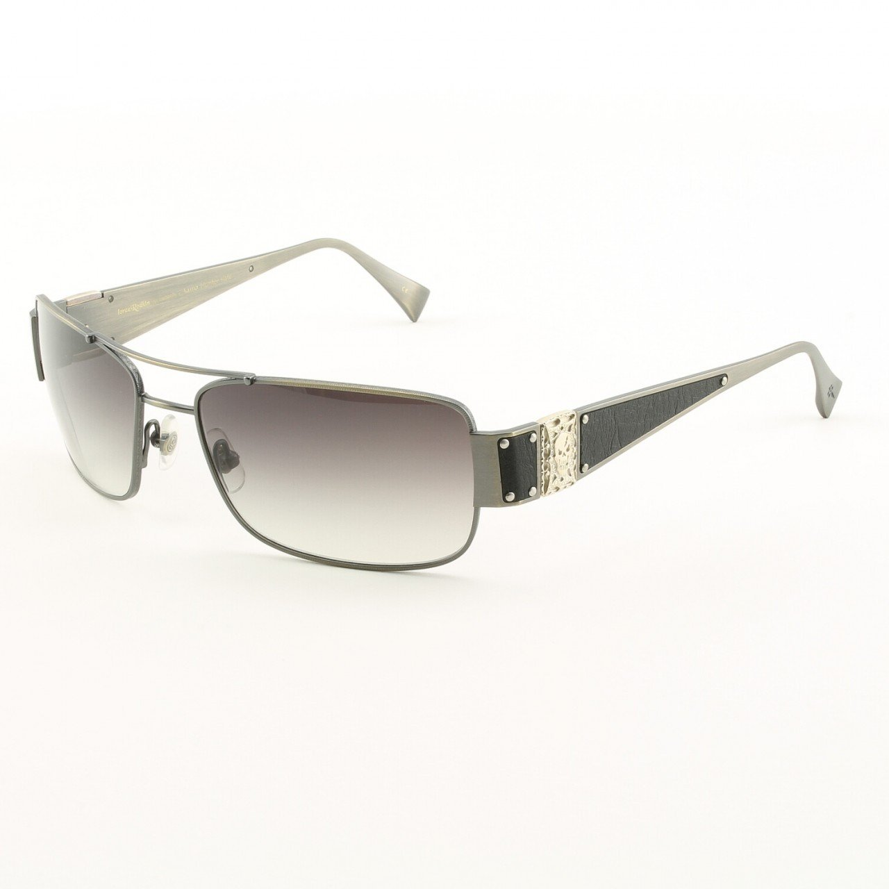 Loree Rodkin Hunter Sunglasses  Slate w/ Gray Gradient Lenses, Leather, Sterling Silver