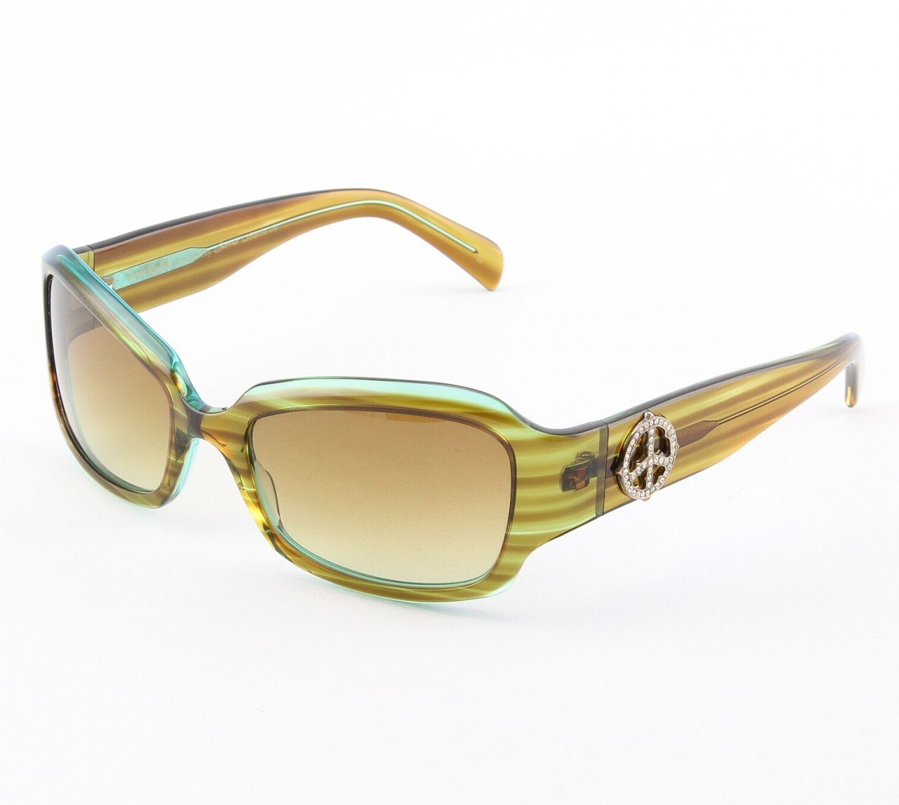 Loree Rodkin Catherine Sunglasses Olive w/ Brown Lenses, Sterling Silver, Swarovski Crystals