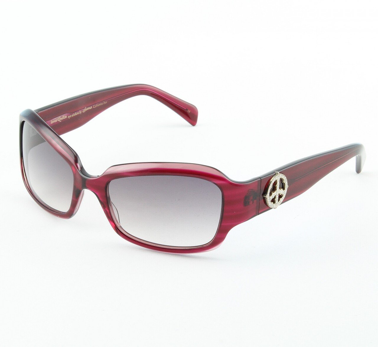 Loree Rodkin Catherine Sunglasses Burgundy w/ Gradient Lenses, Sterling Silver, Crystals