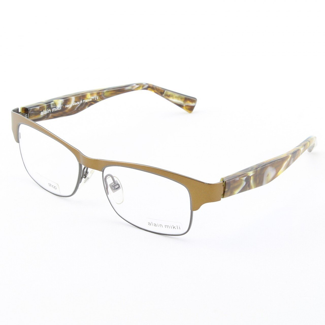 Alain Mikli Eyeglasses AL1052 Col. 201 Copper with Pearlized Gold Tortoise Temples