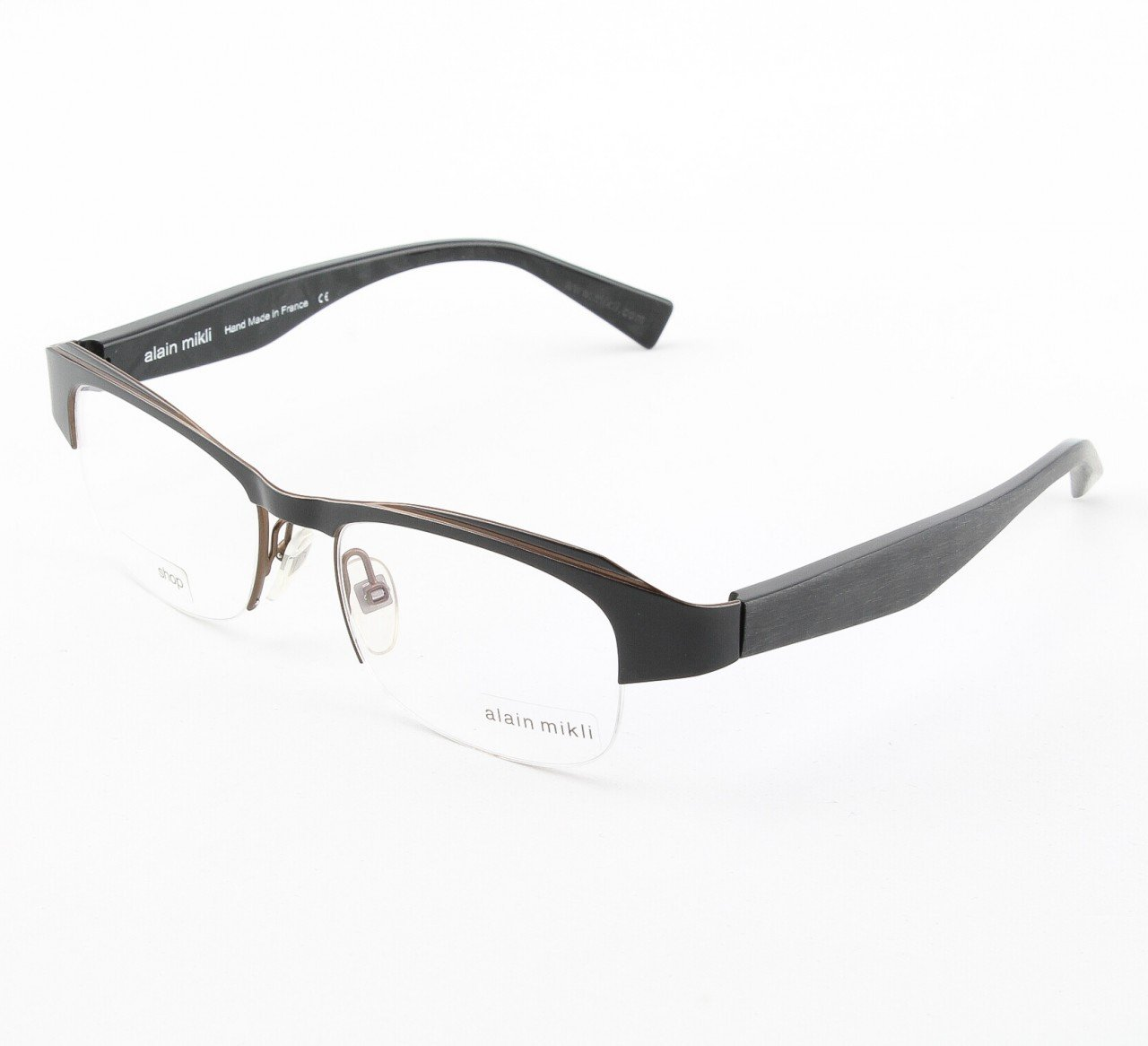 Alain Mikli Eyeglasses AL1041 Col. 1 Black Metal with Copper Accent
