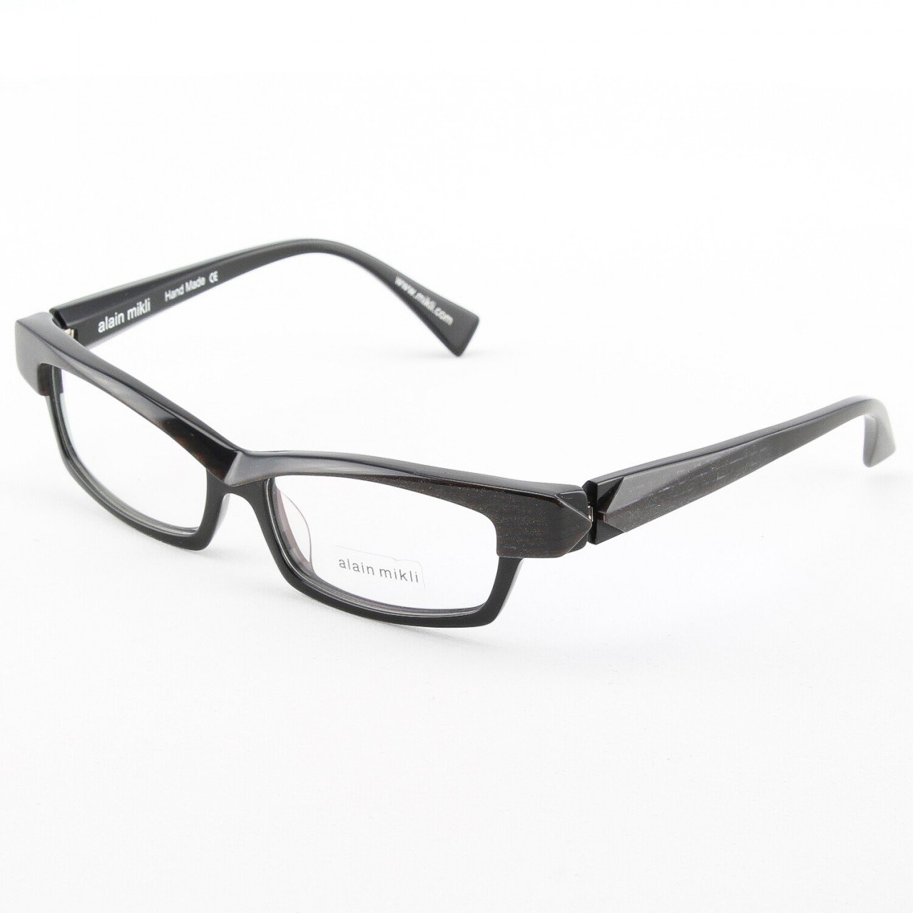 Alain Mikli Eyeglasses AL0932 Col. 1 Black Iridescent Frame with Temple Accent