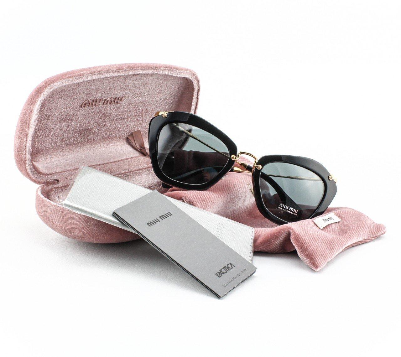 MIU MIU 10N 1AB-1A1 Women's Sunglasses Color Gold & Black with Grey Lenses NWT