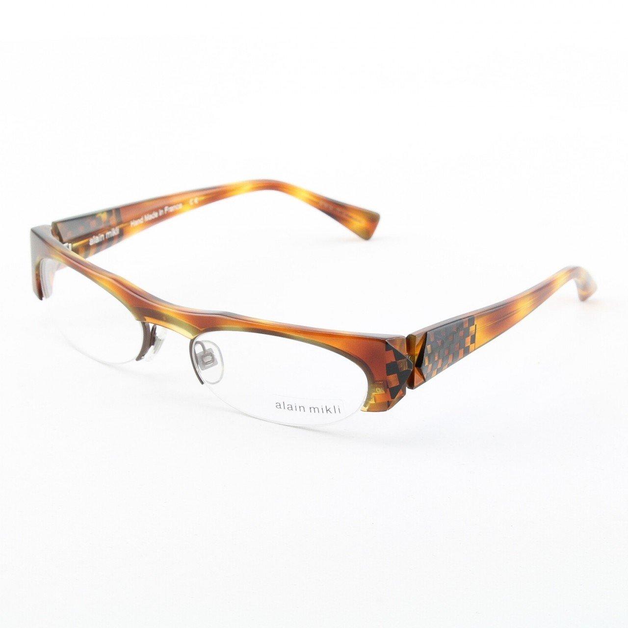 Alain Mikli Eyeglasses AL0927 Col. 2 Tortoise with Black Geometric Design on Temples