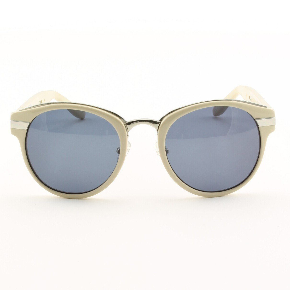 Alexander Wang x Linda Farrow 009 C. 3 Sunglasses in Cream Stripe w/ Blue Lenses