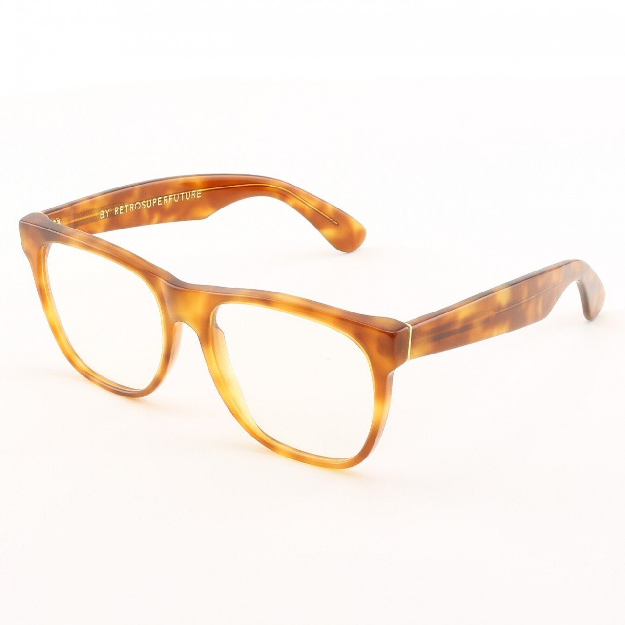 Super Classic 619 Wayfarer Eyeglasses Light Havana with Clear Zeiss Lenses by RETROSUPERFUTURE