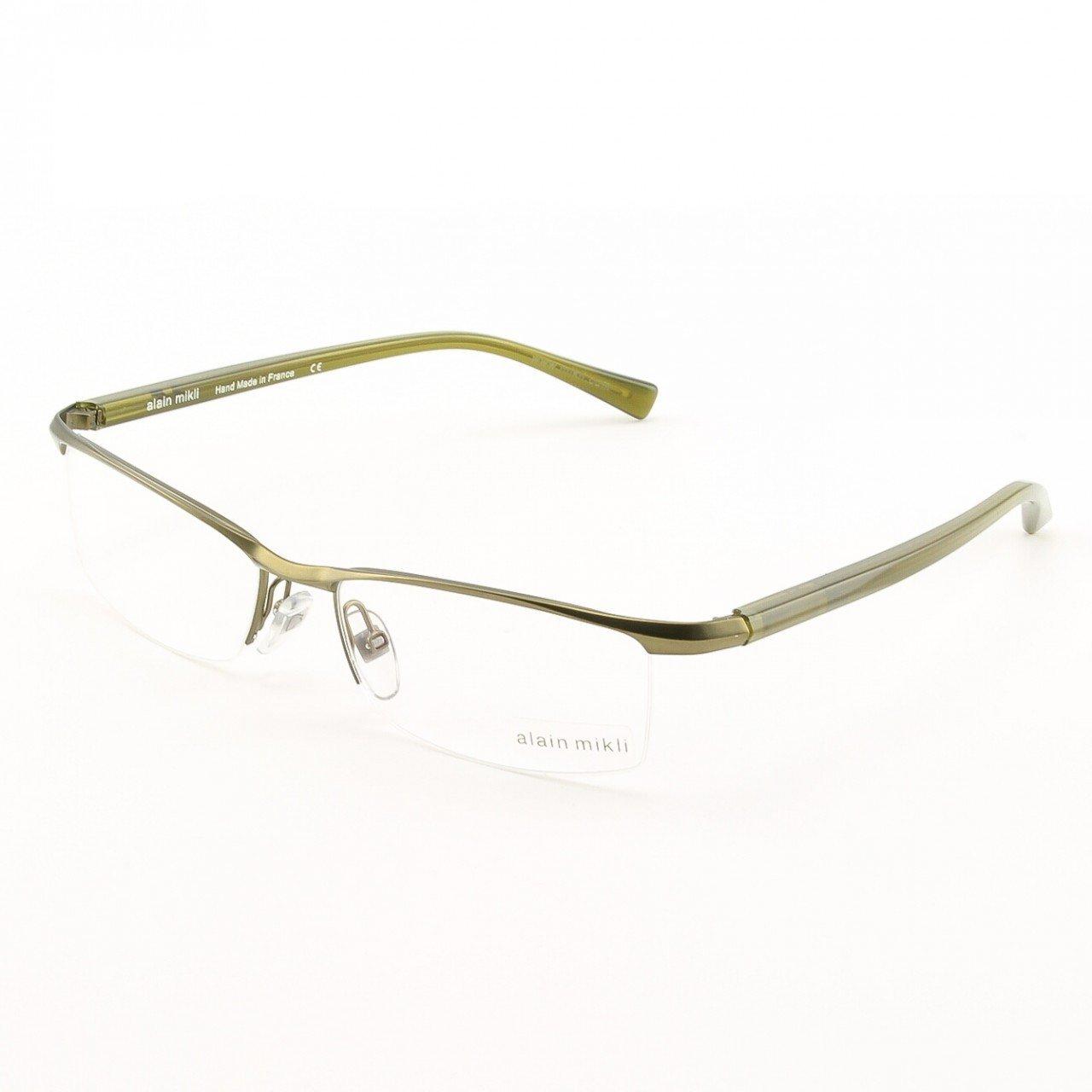 Alain Mikli Eyeglasses AL0888 Col. 6 Matte Green with Green Herringbone Temples