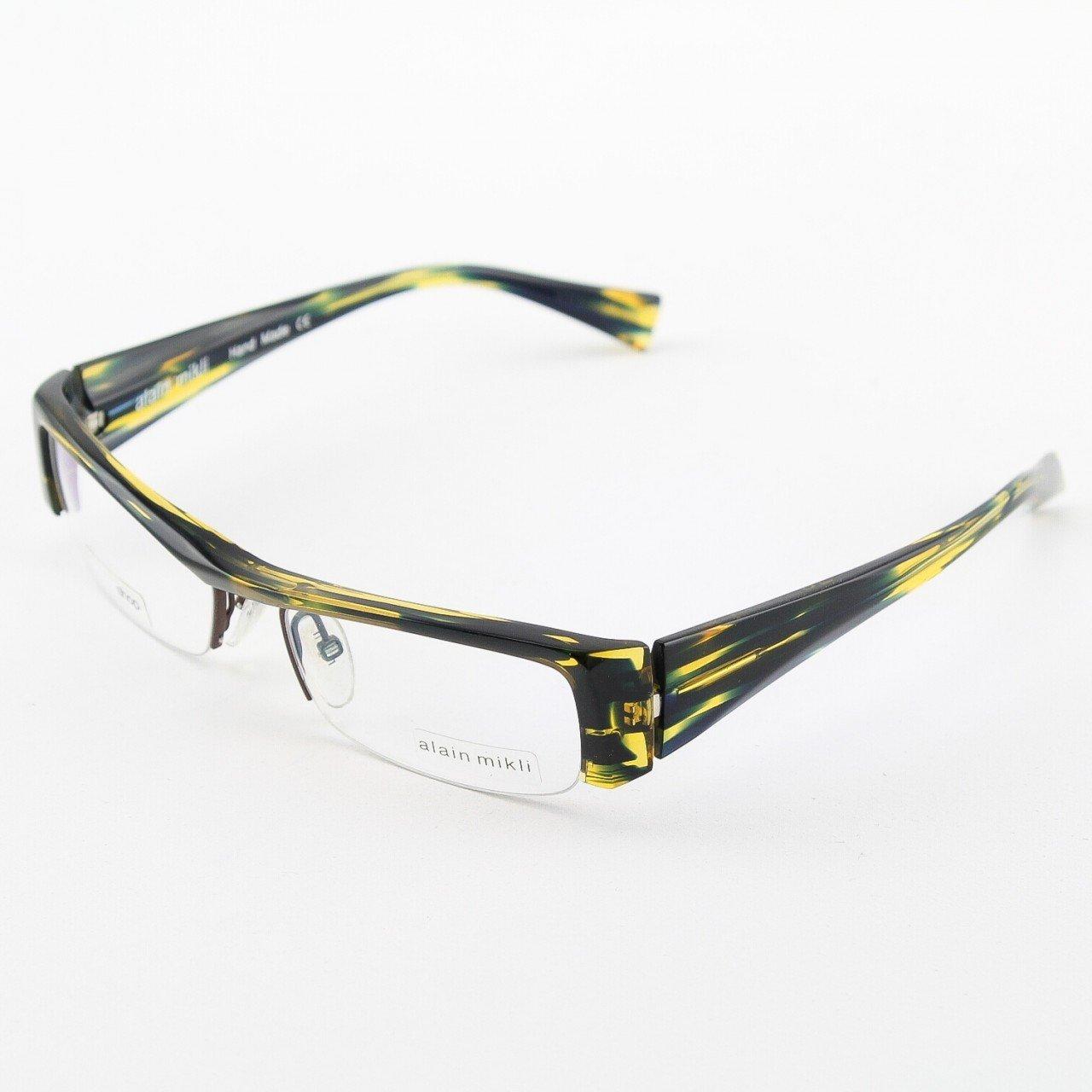 Alain Mikli Eyeglasses AL0795 Col. 18 High Fashion Translucent Black and Yellow with Slanted Bridge