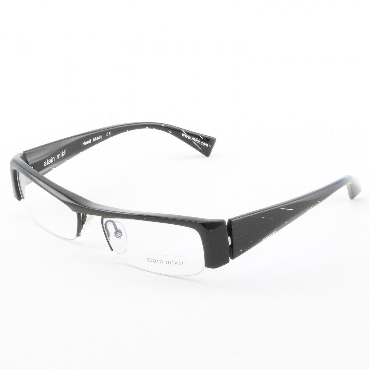 Alain Mikli Eyeglasses AL0795 Col. 1 High Gloss Black with Subtle Diagonal Pattern