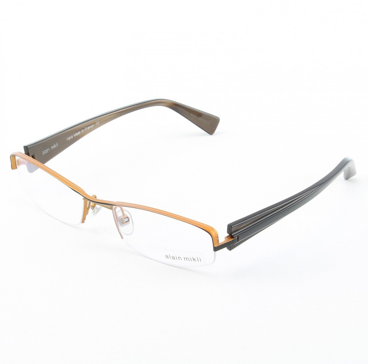 Alain Mikli Eyeglasses AL0695 Col. 11 Copper Metallic Frame with Geometric Black Temple
