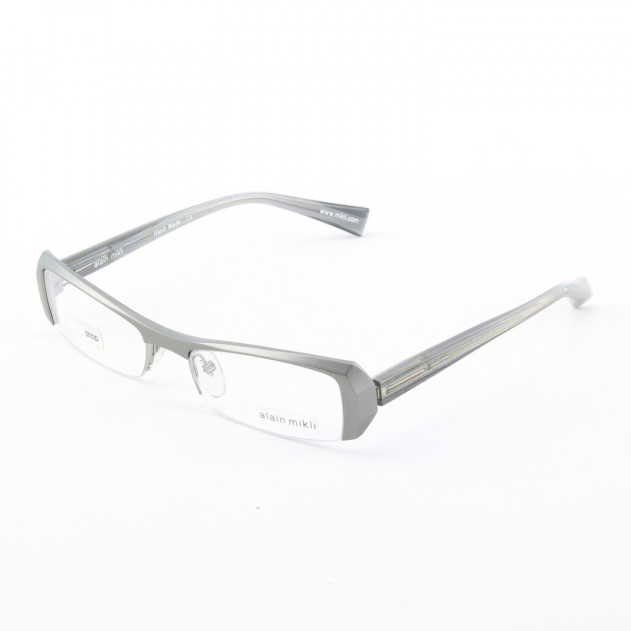 Alain Mikli Eyeglasses AL0613 Col. 18 Matte Silver Frame with Translucent Silver Temples