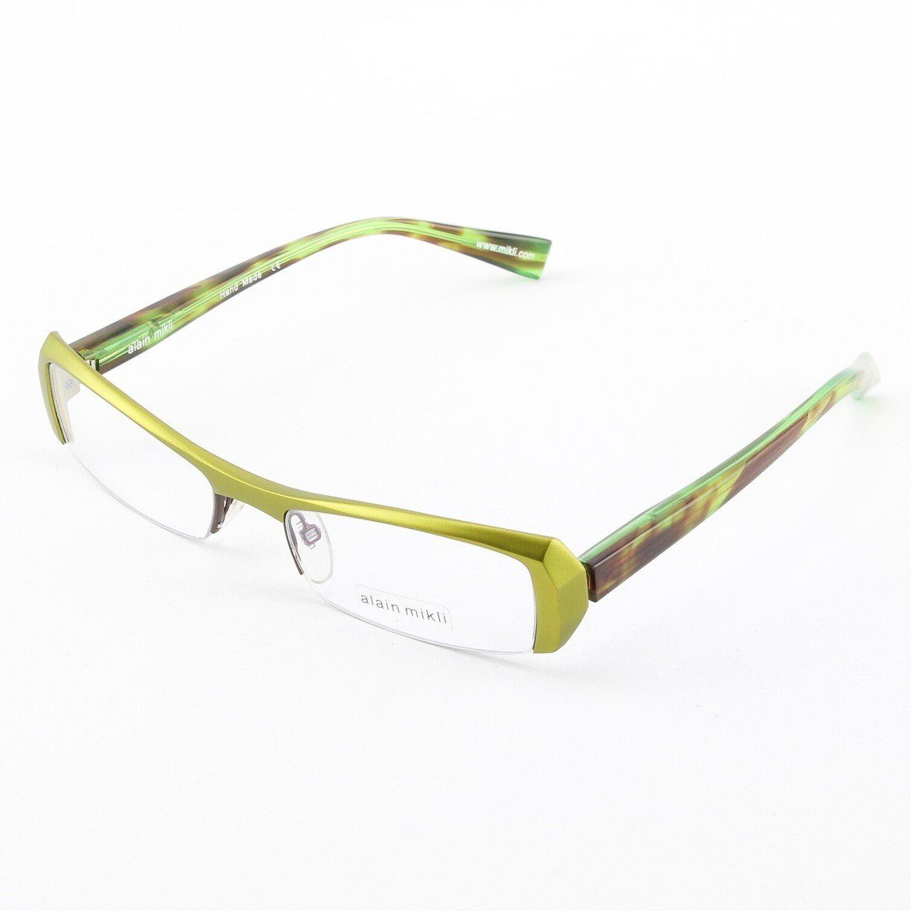 Alain Mikli Eyeglasses AL0613 Col. 16 Metallic Green Frame with Mottled Brown/Green Temples