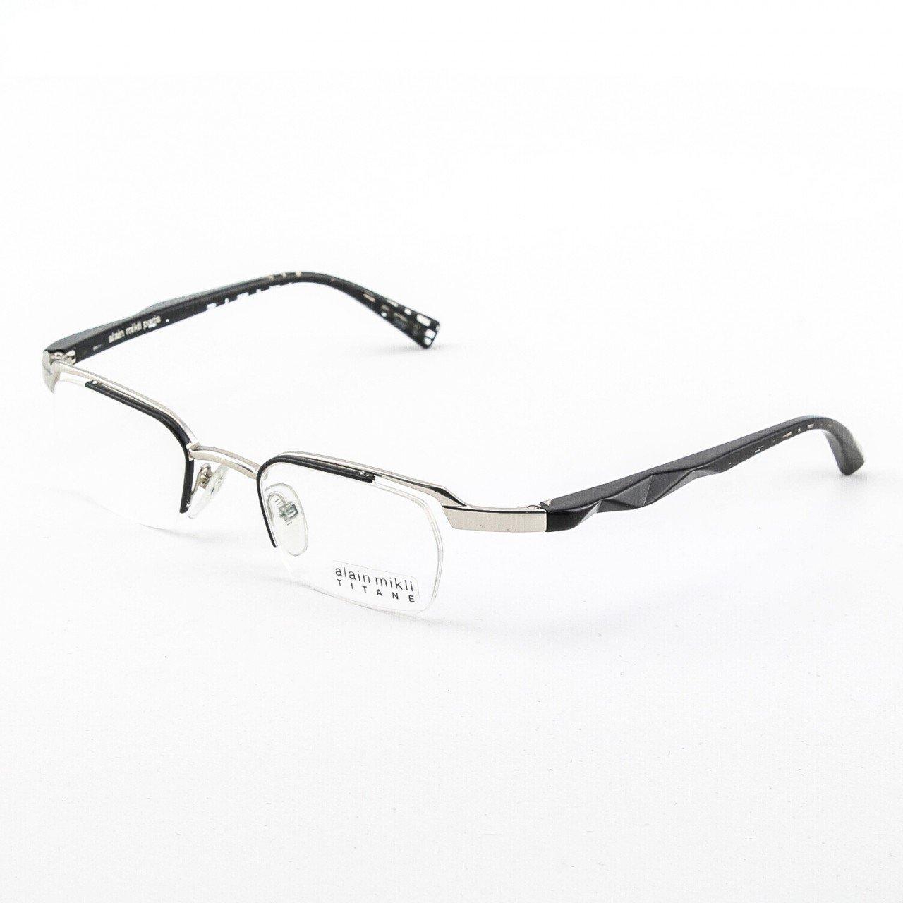 Alain Mikli Eyeglasses AL0556 Col. 8 Silver and Black Frame with Black Geometric Temples