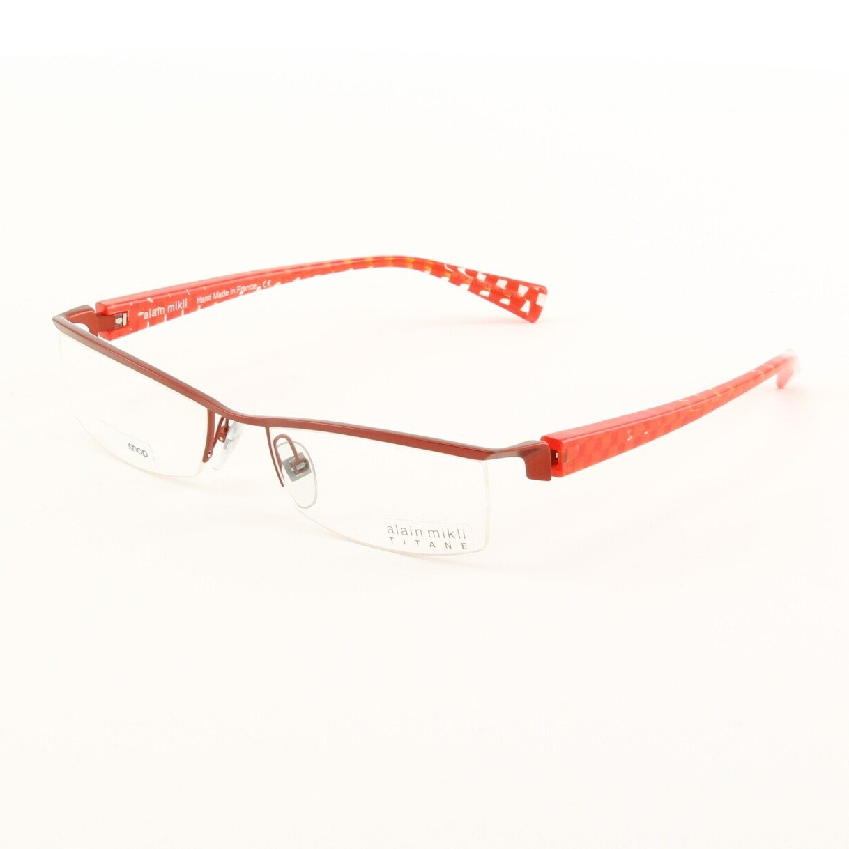 Alain Mikli Eyeglasses AL0523 Col. 20 Licorice Metallic Frame with Checkerboard Temples