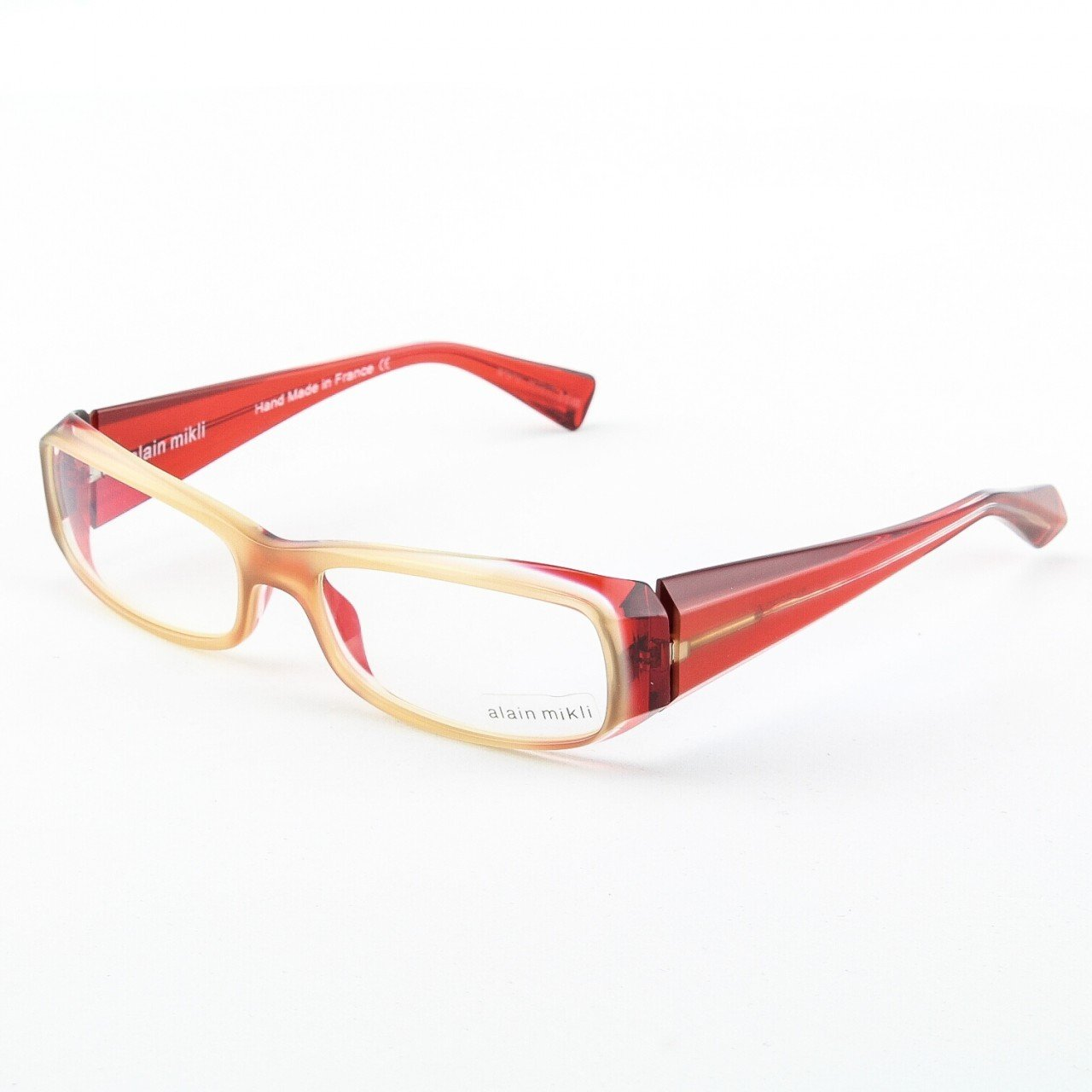 Alain Mikli Eyeglasses AL0322 63 Neutral Translucent Frame Red Translucent Accents