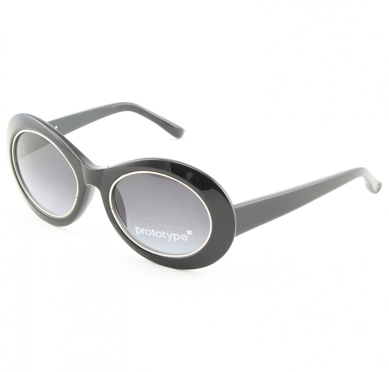 Prototype by Yohji Yamamoto Hornet Sunglasses Col. 01 Black Silver with Grey Gradient Lenses