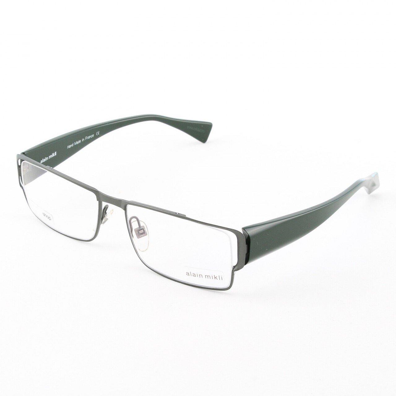Alain Mikli Eyeglasses AL0868 Col. 4 Gun Metal Frame with Forest Green Temples
