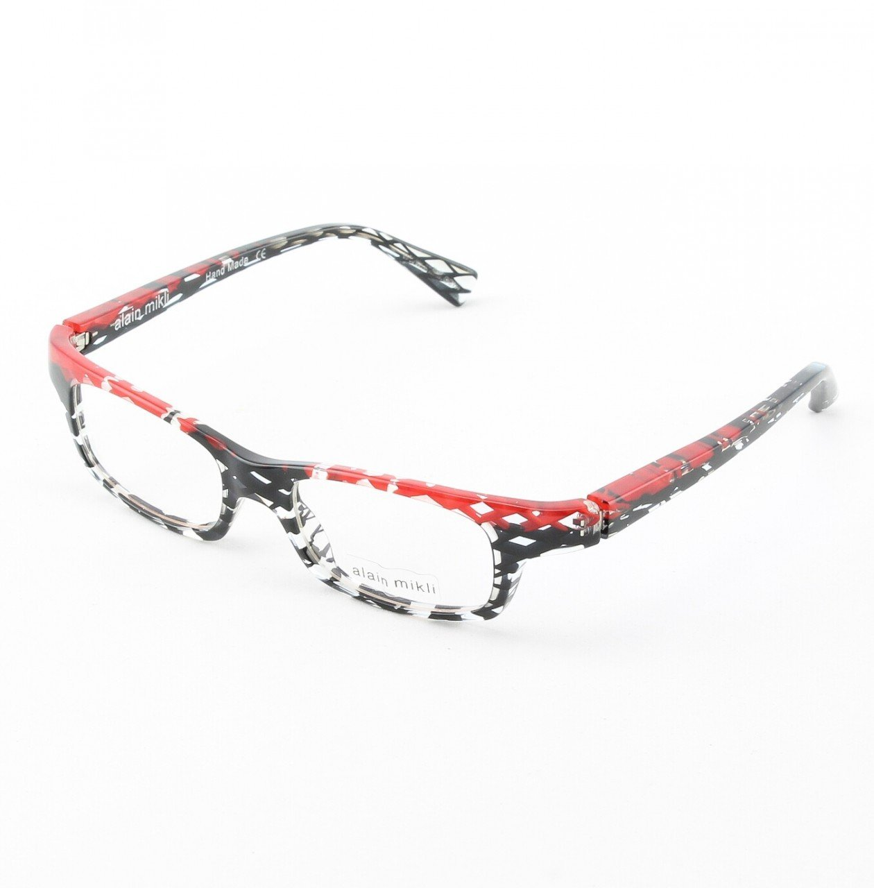 Alain Mikli Eyeglasses AL0690 74 Black and Clear Spatter Pattern with Black Accents
