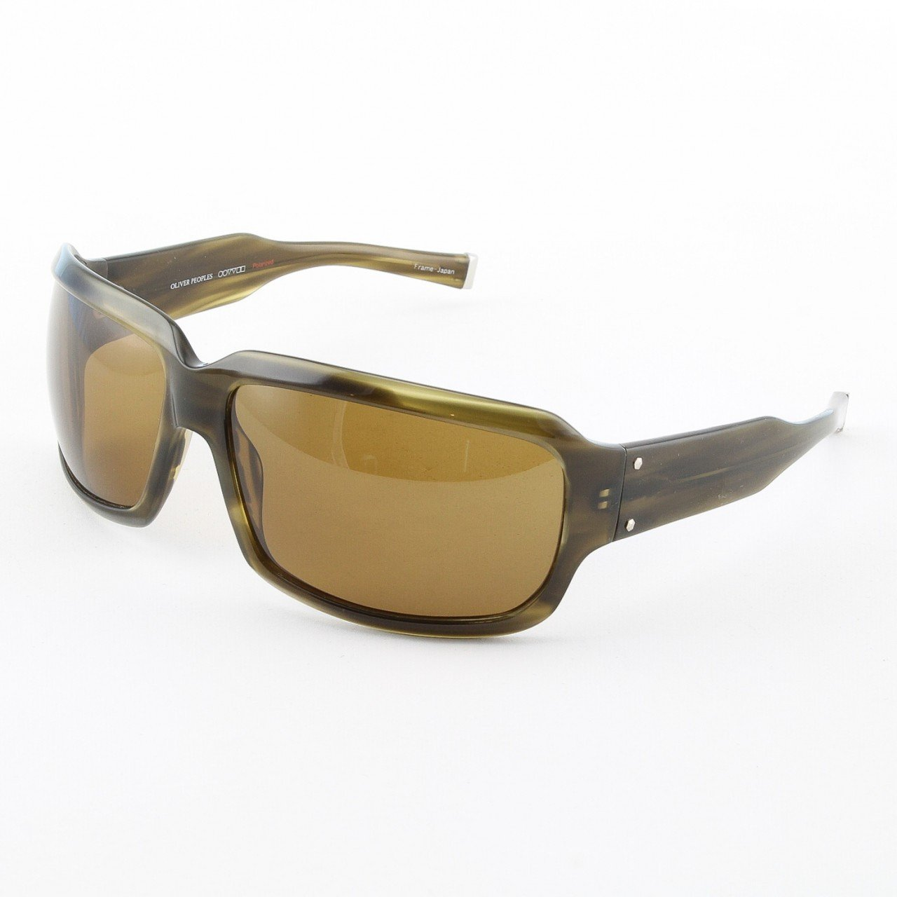 Oliver Peoples Contraband Sunglasses Col. OT Olive Tortoise with Green Polarized Lenses