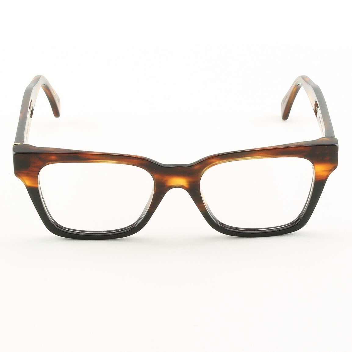 Super America 805 Eyeglasses Striped Tobacco and Black with Clear Zeiss Lenses by RETROSUPERFUTURE