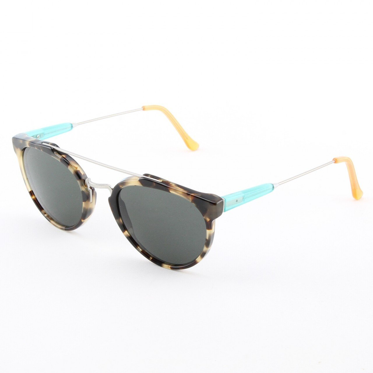 Super Giaguaro 898/3A Sunglasses Brown Puma Turquoise Silver by RETROSUPERFUTURE