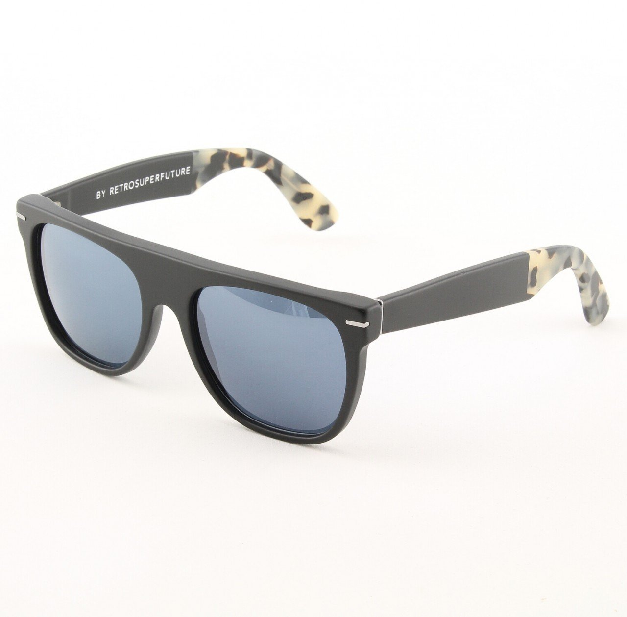 Super Flat Top 907/3T Sunglasses Black Puma with Blue Zeiss Lenses by RETROSUPERFUTURE