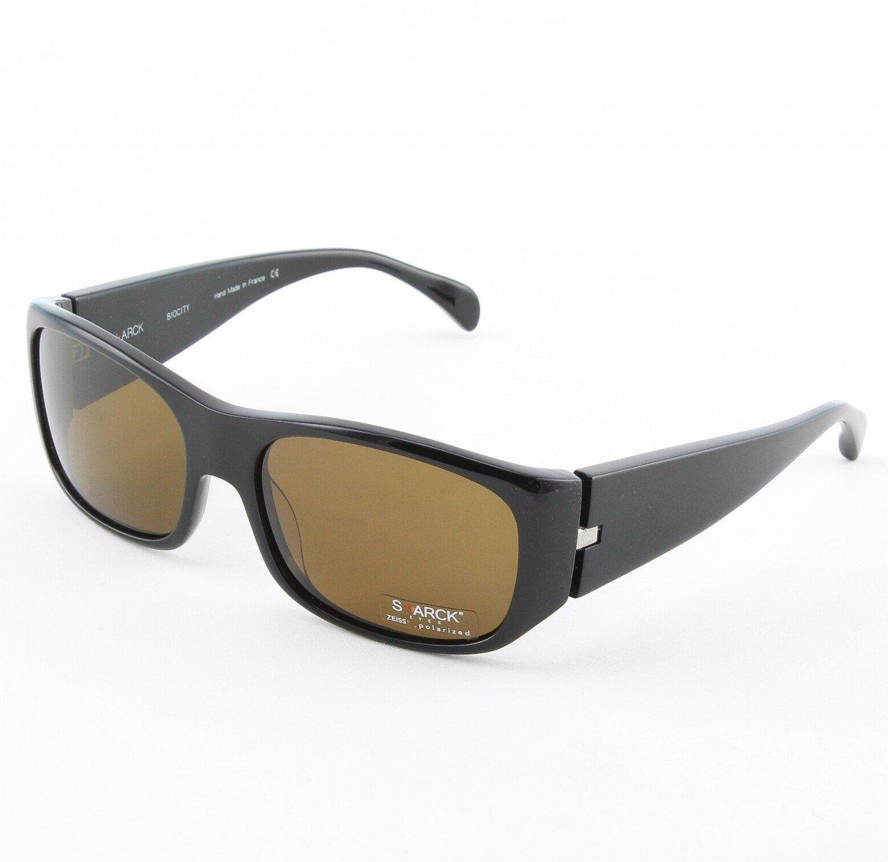 Starck Sunglasses PL0743 Col. 0002 Black with Dark Brown Polarized Lenses