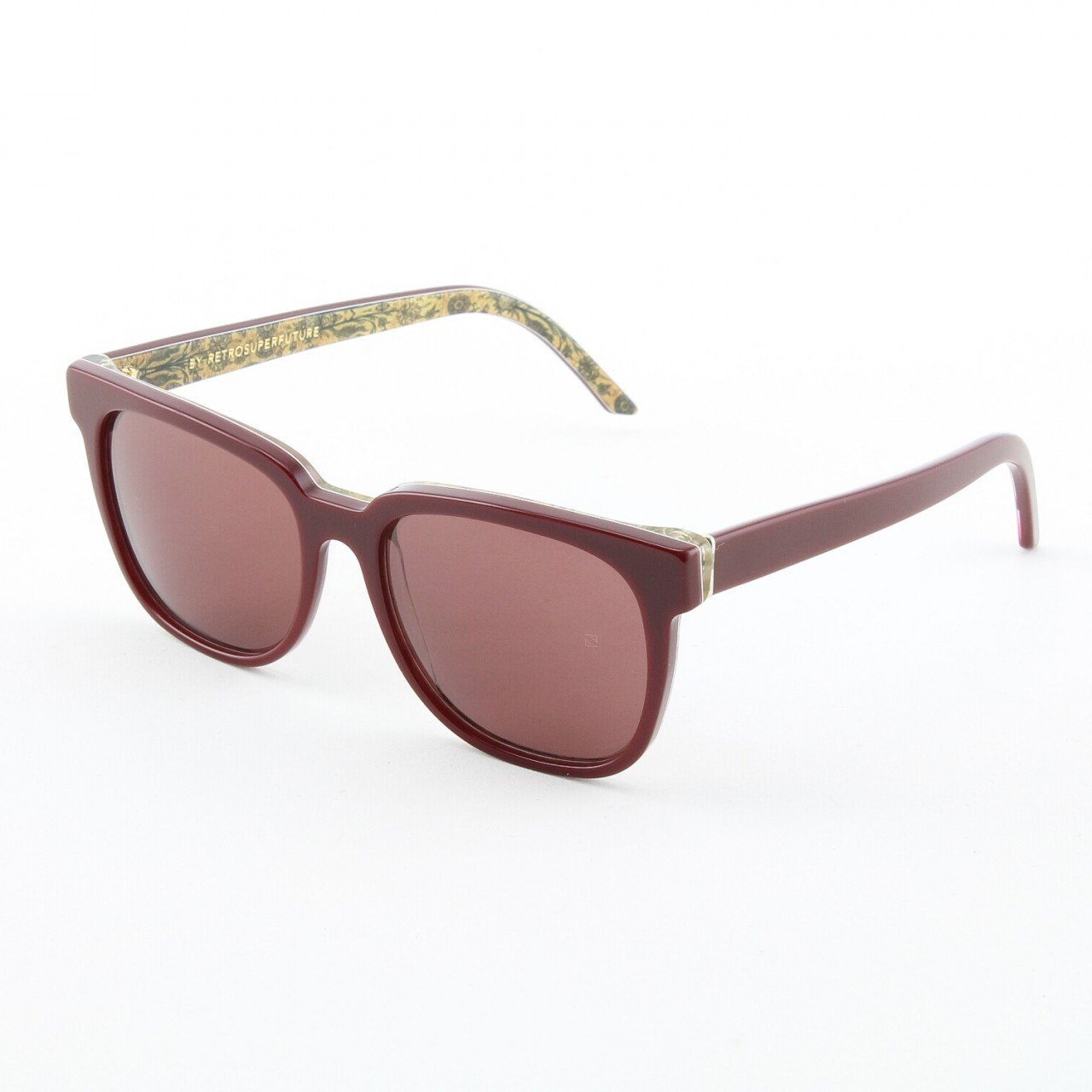 Super People 812/3T Sunglasses Wine Golden Tapestry with Red Zeiss Lenses by RETROSUPERFUTURE