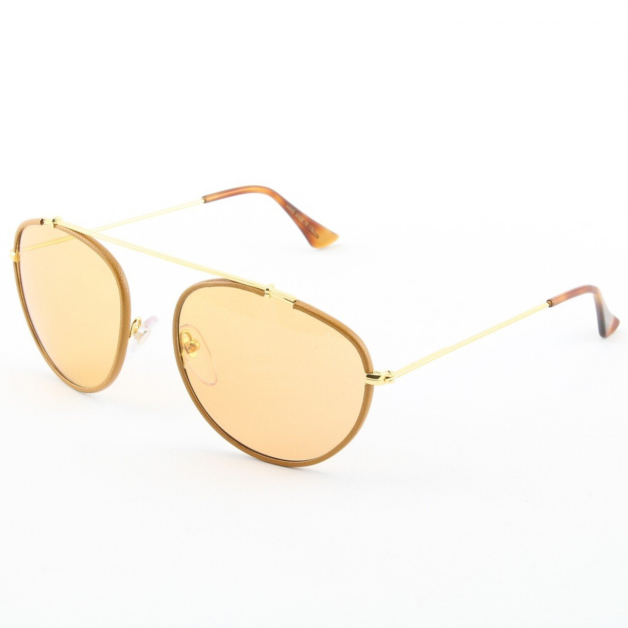 Super Leon 541/1M Sunglasse Gold Beige Leather with Amber Zeiss Lenses by RETROSUPERFUTURE
