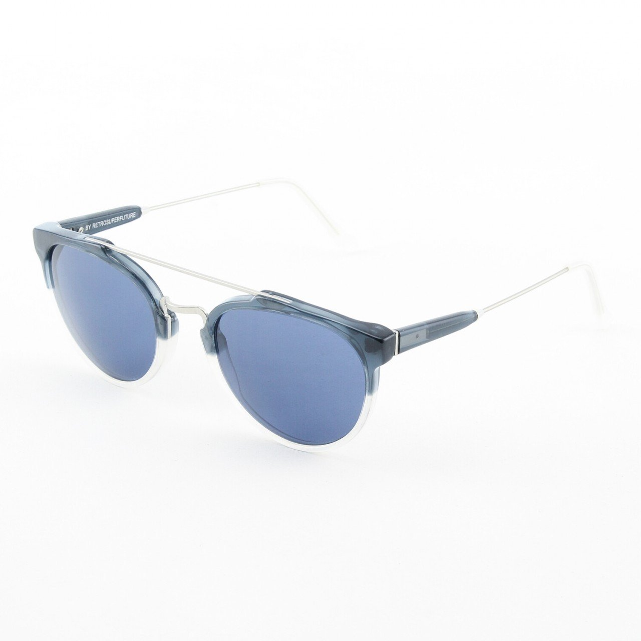 Super Giaguaro 570/3A Sunglasses Navy Beige with Blue Zeiss Lenses by RETROSUPERFUTURE