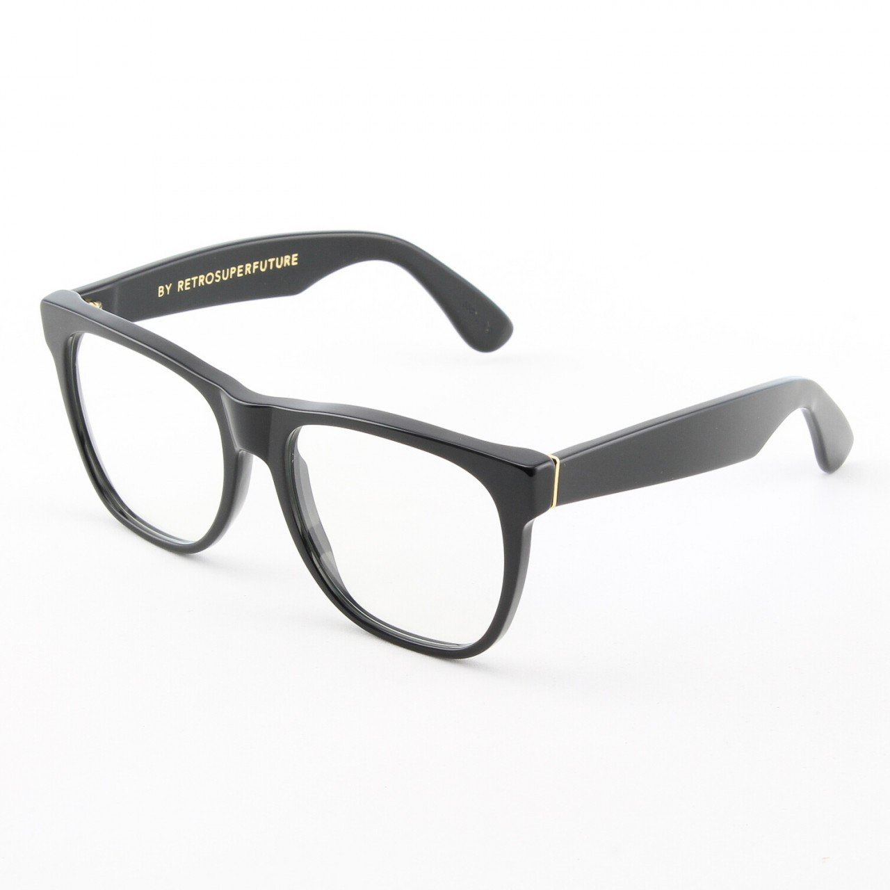 Super Classic 609/0T Eyeglasses Black Gold with Clear Zeiss Lenses by RETROSUPERFUTURE