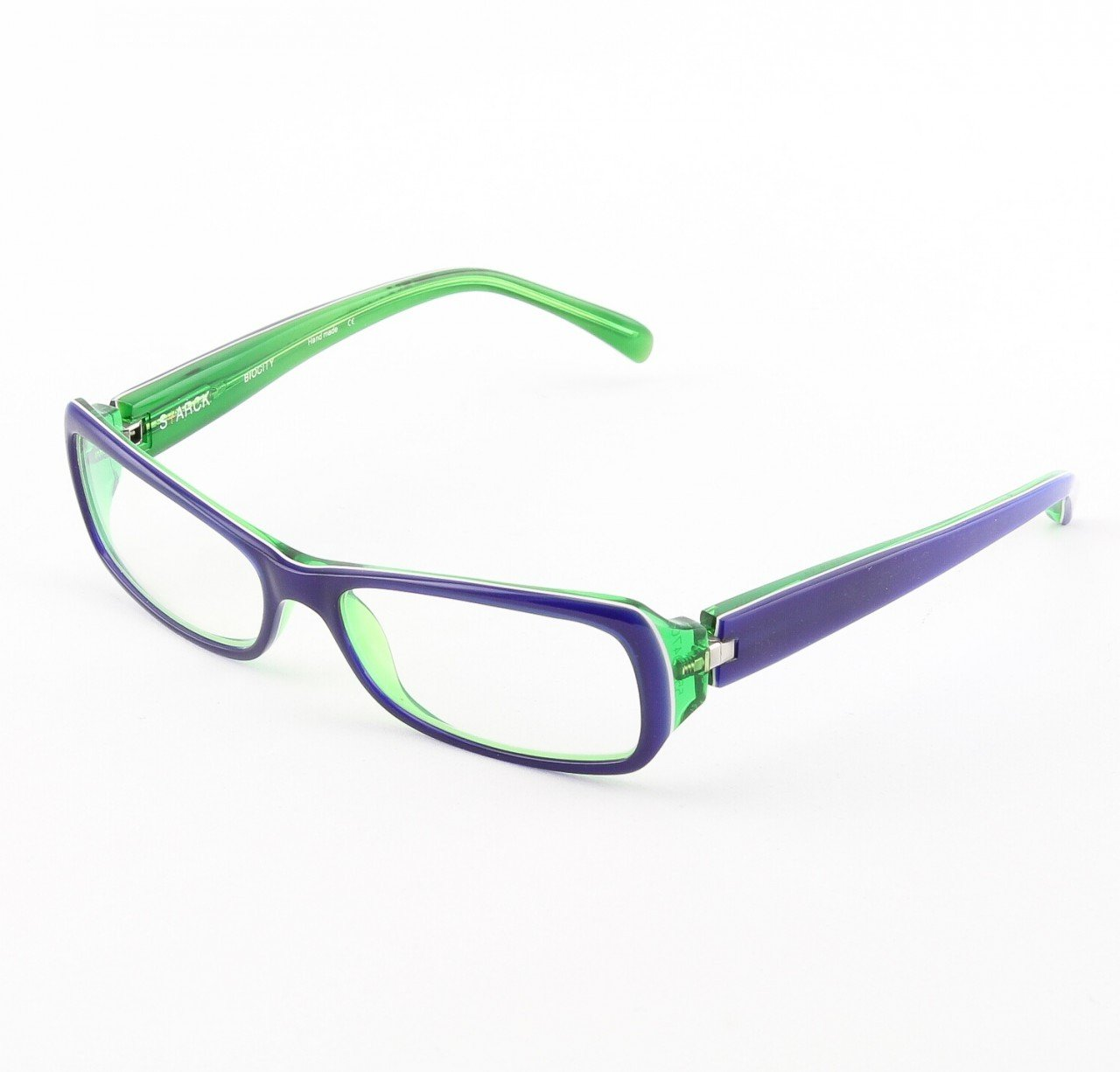 Starck Eyeglasses P0515 Col. 22 Blue, Lime Green with Clear Lenses