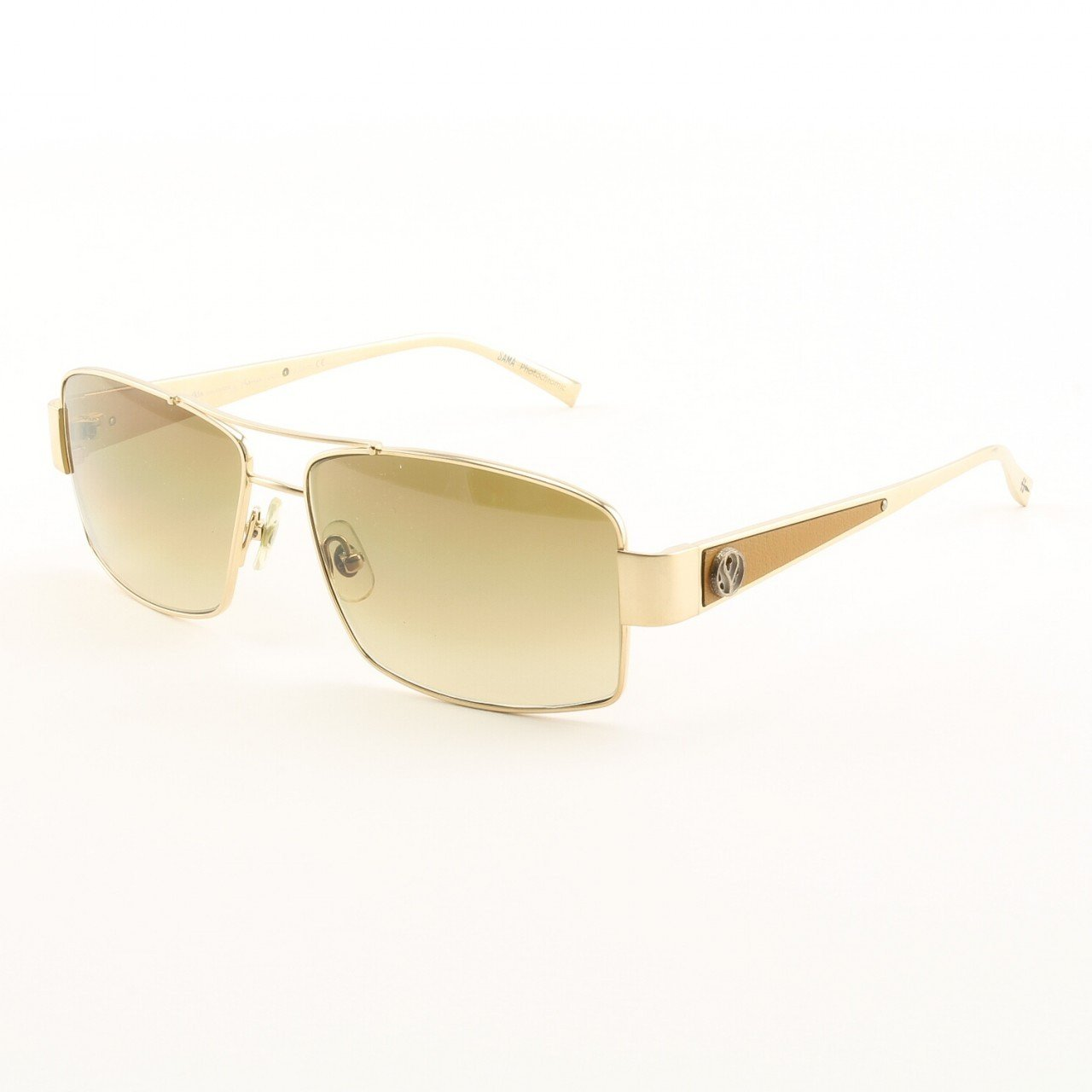 Loree Rodkin Jason Sunglasses by Sama Col. Gold with Brown Lenses, Leather and Sterling Silver