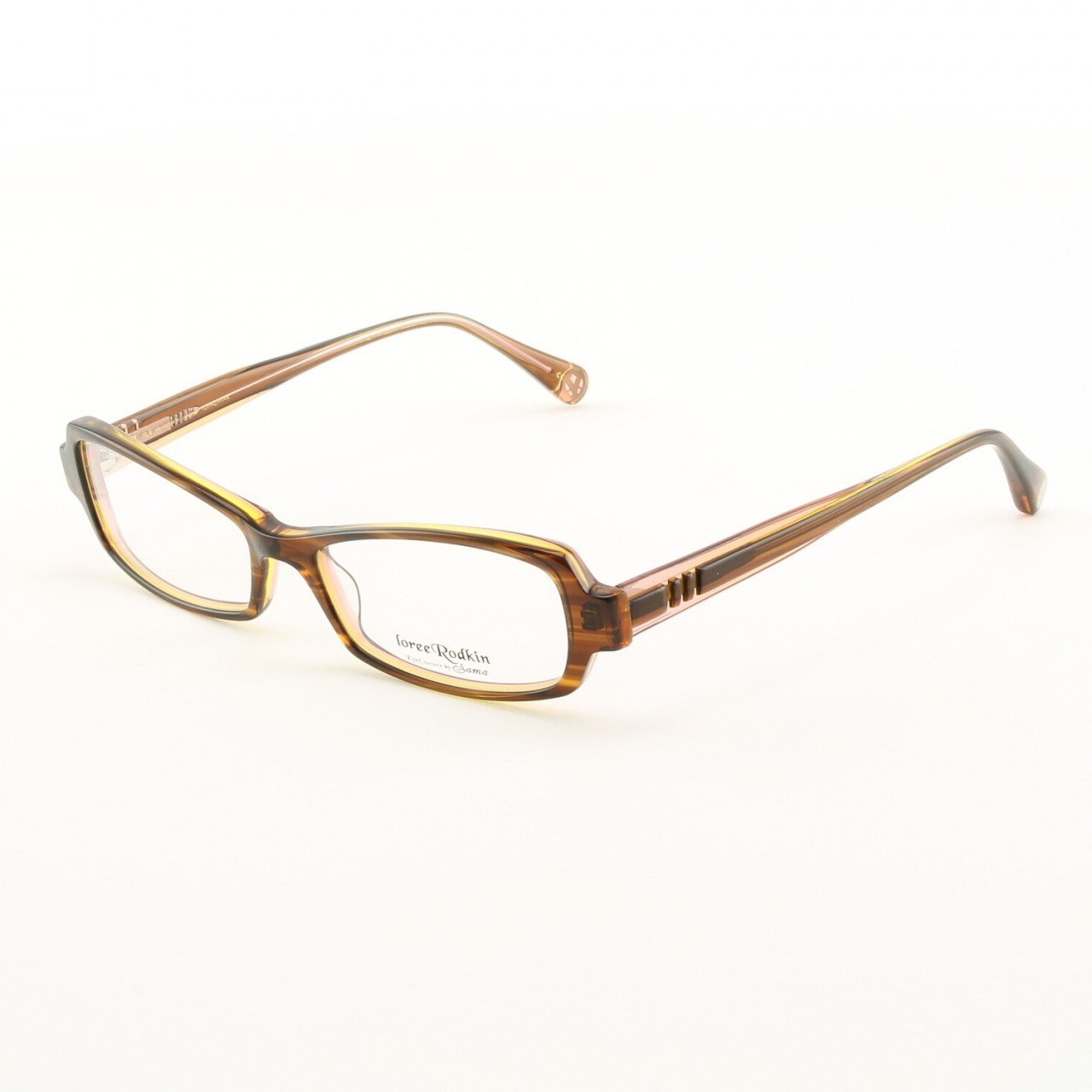 Loree Rodkin Isla Eyeglasses by Sama Col. Topaz and Pink with Clear Lenses