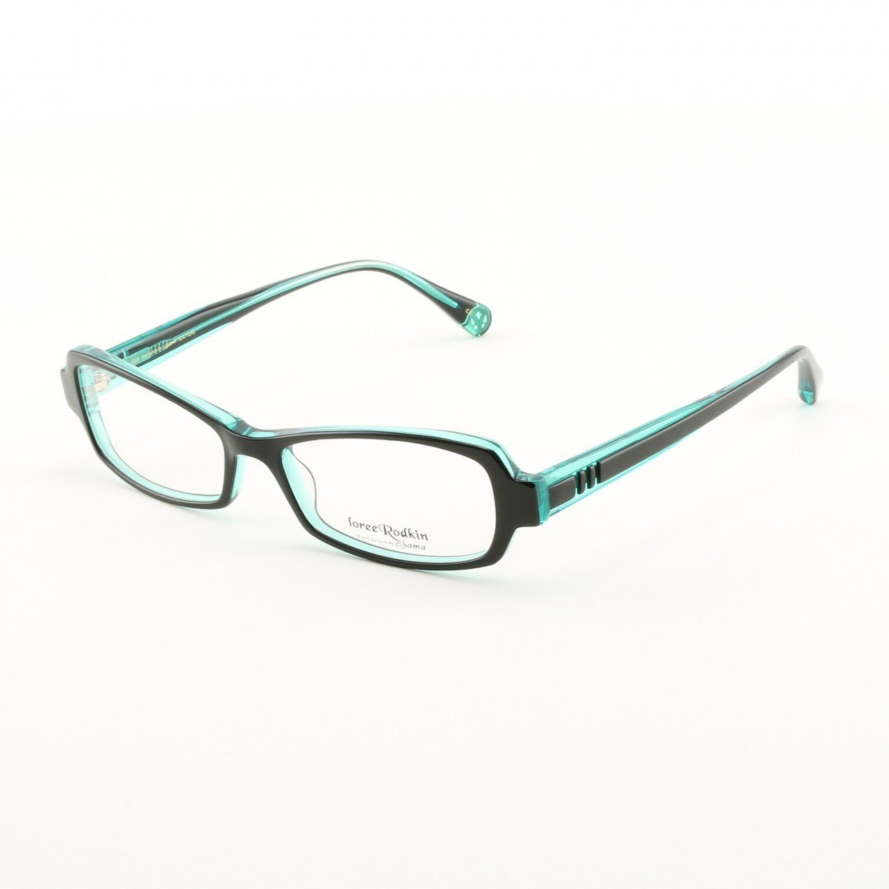 Loree Rodkin Isla Eyeglasses by Sama Col. Black and Teal with Clear Lenses
