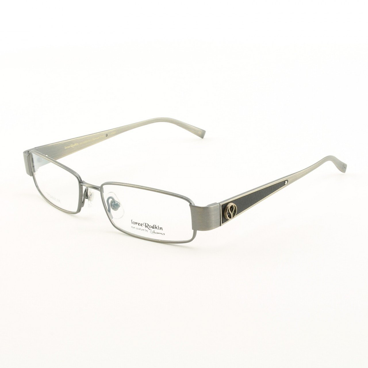 Loree Rodkin Fred Eyeglasses by Sama Col. Slate with Clear Lenses, Leather and Sterling Silver